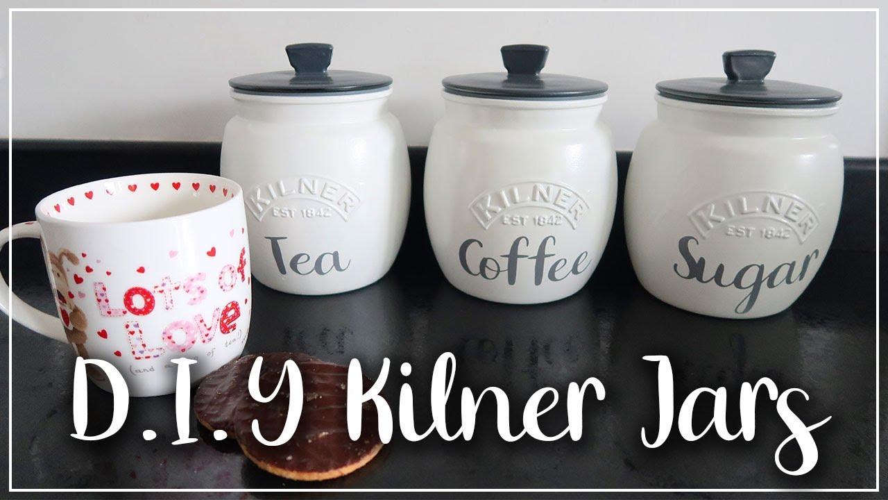 DIY PAINTED KILNER JARS - KITCHEN STORAGE TEA COFFEE AND SUGAR POTS - LOTTE ROACH