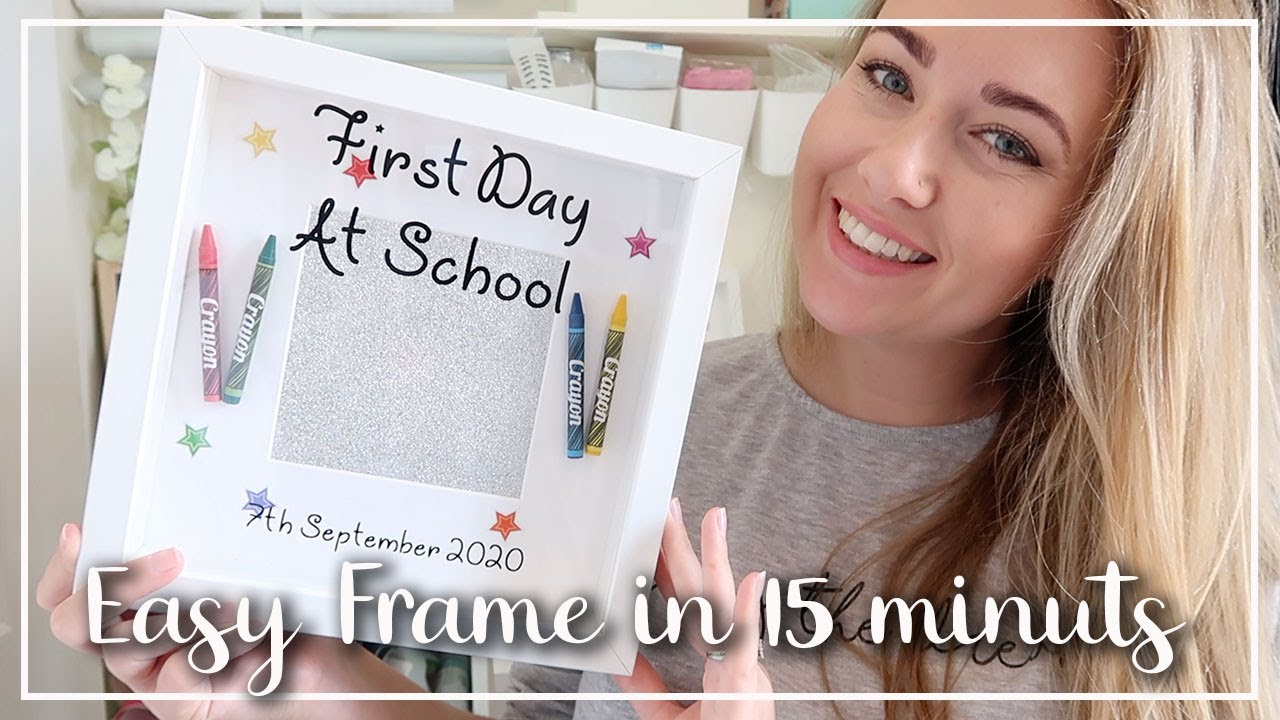 SUPER EASY CRICUT FRAME IN UNDER 15 MINS - FIRST DAY OF SCHOOL MEMORY SHADOW BOX FRAME - LOTTE ROACH